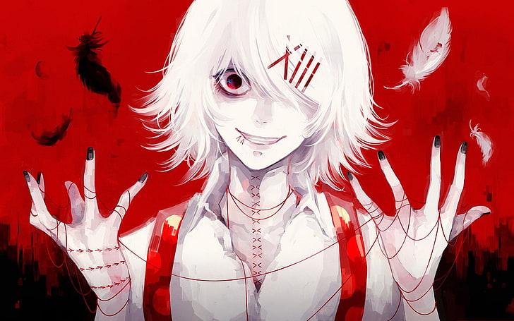 white haired anime boy