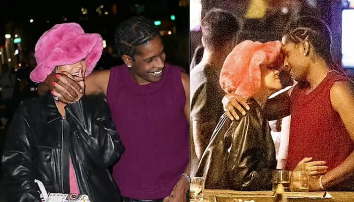 Rihanna Spotted Kissing A$AP Rocky in Pink Braless Dress As She went on Rare Public Date Night