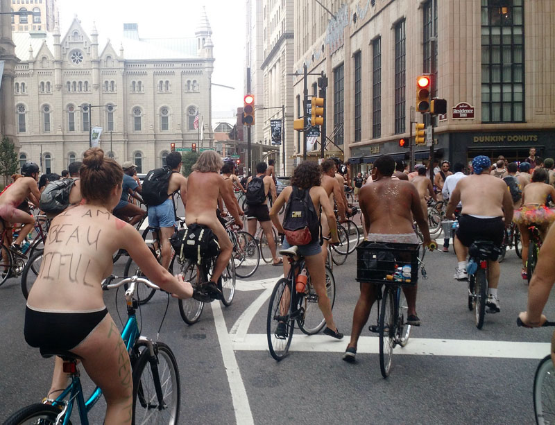 Philly Naked Bike Ride Must wear only one face mask Nothing else.